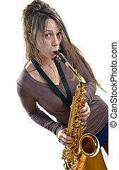 mulher jovem, jogo saxophone