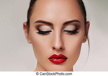 mulher, jovem, lábios, morena, deslumbrante, retrato, vermelho