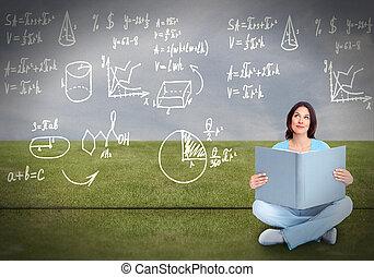 mulher jovem, leitura estudante, a, book.