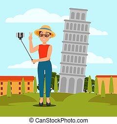 mulher jovem, levando, selfie, frente, torre inclinada, de, pisa., férias, em, italy., coloridos, apartamento, vetorial, natural, paisagem