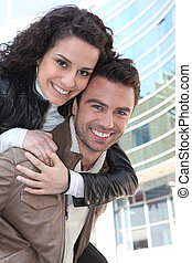 mulher jovem, ligado, dela, boyfriend's, costas