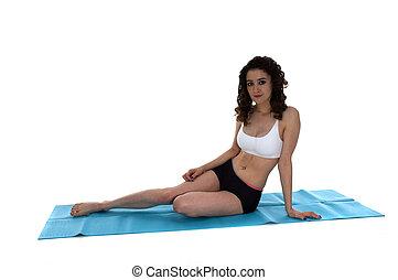 mulher jovem, ligado, esteira yoga