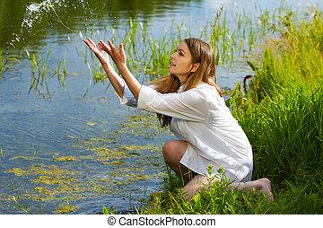 mulher jovem, ligado, natureza