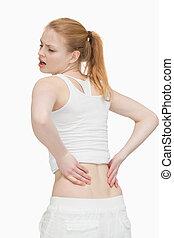 mulher jovem, massaging, dela, costas