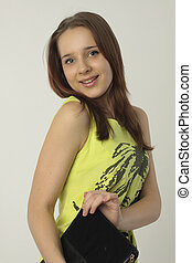 mulher jovem, modelo moda, com, embreagem