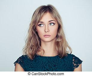 mulher jovem, modelo moda, retrato