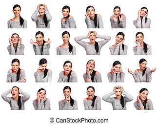 mulher jovem, mostrando, vários, expressões, isolado
