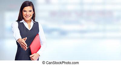 mulher, jovem, negócio, aperto mão