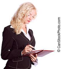 mulher, jovem, negócio