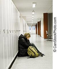 mulher jovem, obtendo, intimidou, em, escola