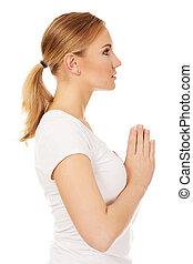 mulher jovem, orando, -, religião, conceito