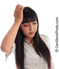 mulher, jovem, overworked, cansado, ou, dor de cabeça