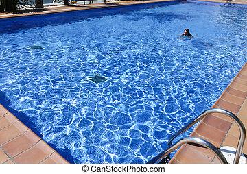 mulher, jovem, piscina, natação