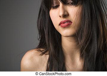 mulher jovem, portrait.