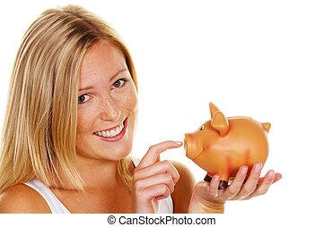 mulher jovem, poupar, dinheiro