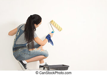mulher jovem, redecorating, dela, casa