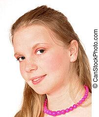 mulher jovem, retrato