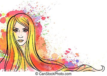 mulher jovem, retrato, com, coloridos, esguichos
