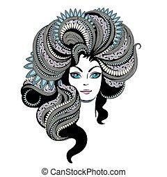 mulher jovem, retrato, com, ornate, cabelo