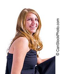 mulher jovem, retrato, isolado