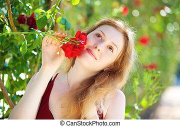 mulher, jovem, romanticos