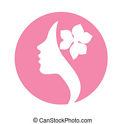 mulher jovem, rosto, ícone