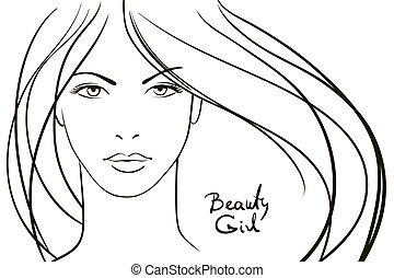 mulher jovem, rosto, com, longo, cabelo loiro