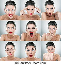 mulher jovem, rosto, expressões, composto