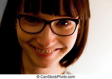 mulher, jovem, rosto, portrait., bonito, inteligente, óculos
