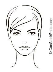 mulher, jovem, rosto