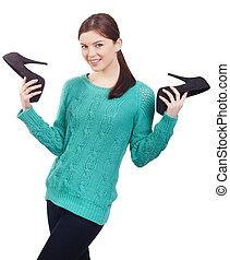 mulher, jovem, sapatos