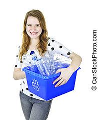 mulher jovem, segurando, reciclagem, caixa