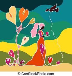 mulher jovem, segurando, um, coração, em, dela, mãos, um, pássaro voador, e, um, árvore, de, corações, criativo, padrão, em, um, linha
