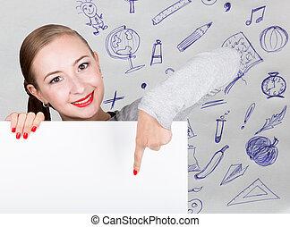 mulher jovem, segurando, whiteboard, com, escrita, word:, branca, form., tecnologia, internet, negócio, e, marketing.