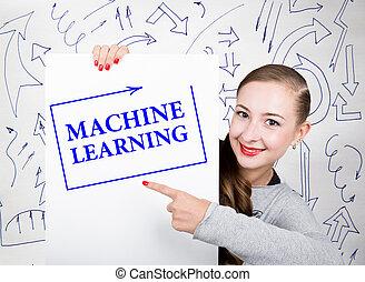 mulher jovem, segurando, whiteboard, com, escrita, word:, máquina, learning., tecnologia, internet, negócio, e, marketing.