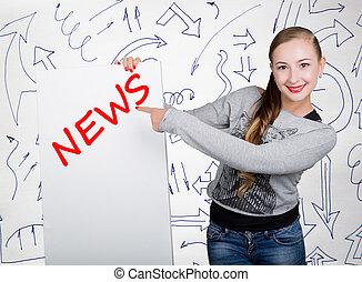 mulher jovem, segurando, whiteboard, com, escrita, word:, news., tecnologia, internet, negócio, e, marketing.