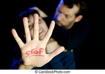 mulher jovem, sendo, abusado, violência doméstica