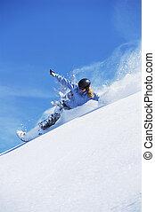 mulher jovem, snowboarding