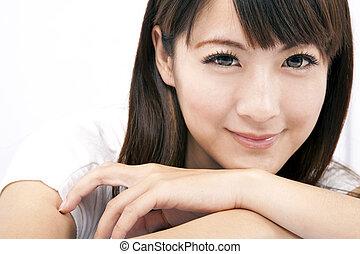 mulher, jovem, sorrindo, asiático, bonito