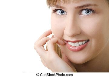 mulher jovem, sorrizo, isolado