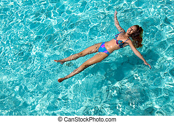 mulher, jovem, swiming, oceânicos, sorrisos, maldives