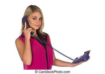 mulher, jovem, telefone