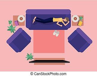 mulher jovem, televisão assistindo, ligado, a, livingroom