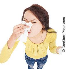 mulher jovem, tendo, alergia, e, soprando, em, tecido