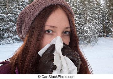 mulher jovem, tendo, um, gelado, e, vírus gripe, ao ar livre