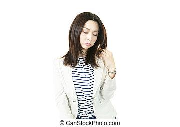mulher jovem, tocar, dela, cabelo