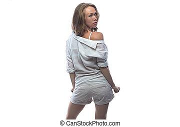 mulher jovem, torneado, dela, costas