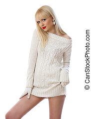 mulher, jovem, tricotado, vestido, bonito