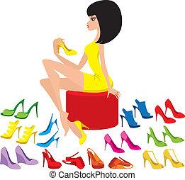 mulher jovem, tries, ligado, sapatos