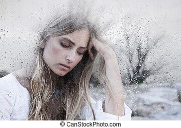 mulher, jovem, triste